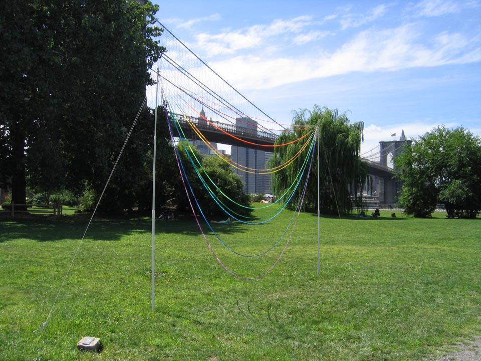 River Abacus, 2004, Fiberglass, nylon, plastic beads and cement, 16 x 20' (Installation)