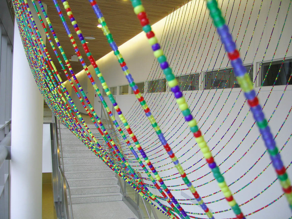 Gene Pairs ... With Ellipses, 2003, Plastic pony beads and nylon string, 35 x 25' (Detail)