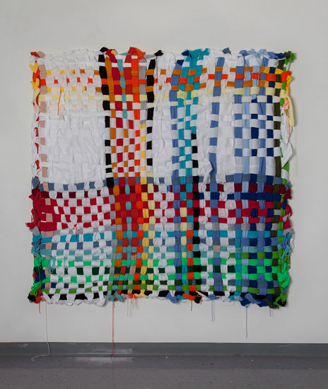 Louise Eastman, Potholder, 2014, wool and acrylic wool, 78 x 78""