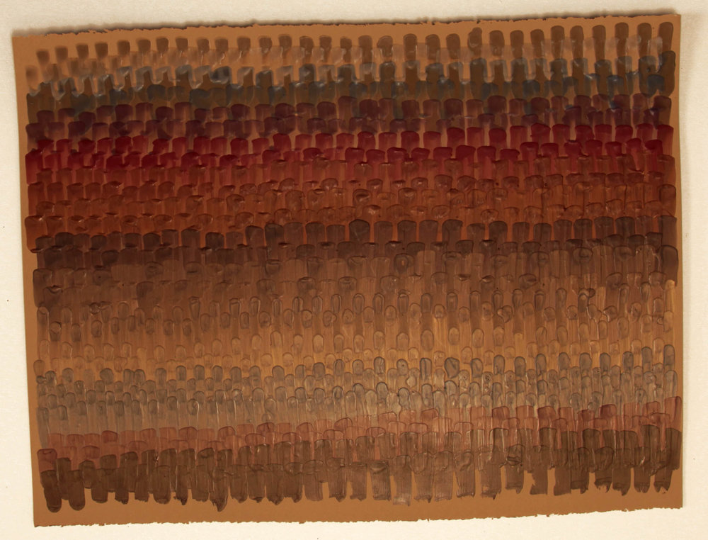 Serape 1, 2016, Encaustic on acid-free paper, 30 x 22-1/2 inches