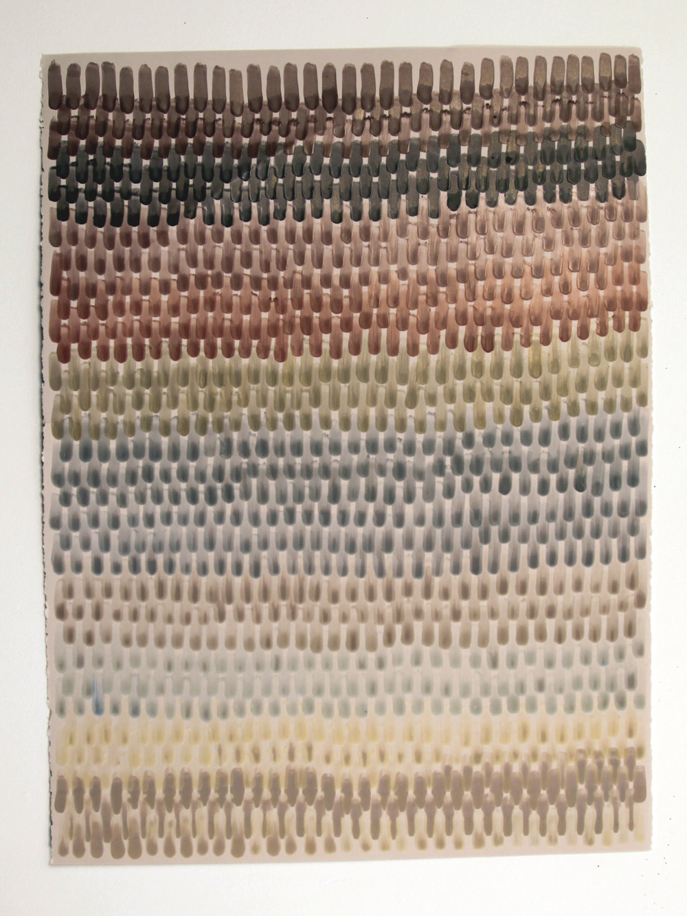Serape 2, 2016, Encaustic on acid-free paper, 30 x 22-1/2 inches