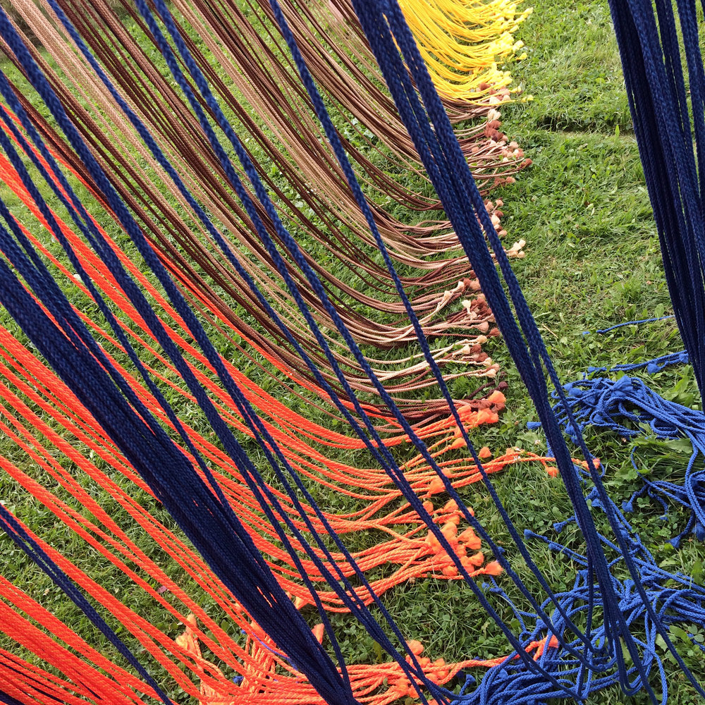Little Women (detail), 2016, 6mm Polypropylene cord, wood and painted metal, Franconia Sculpture Park, MN, 17 x 9 x 20 feet