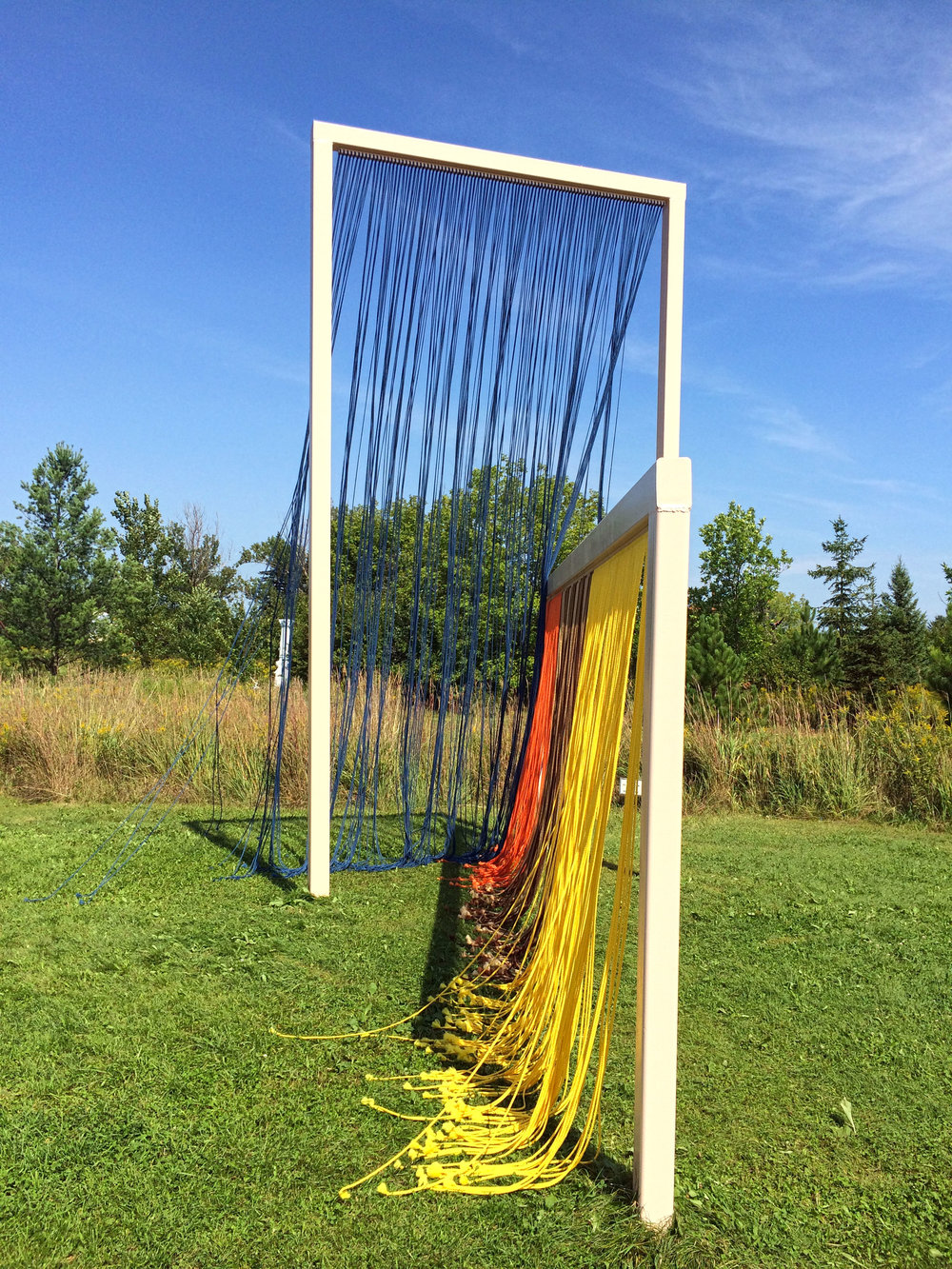 Little Women, 2016, 6mm Polypropylene cord, wood and painted metal, Franconia Sculpture Park, MN, 17 x 9 x 20 feet
