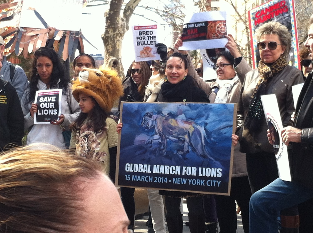 Head of NYC's Global March for Lions, Sarah La Rocca, holding one of the posters designed by our advisory board member, Carla Alpert.