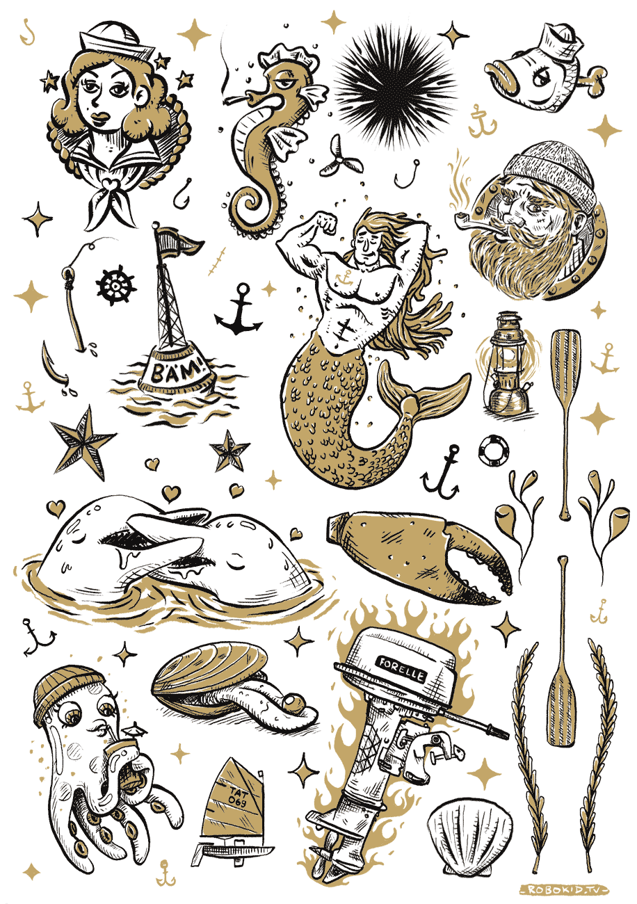 Nautical temporary tattoos — Robokid