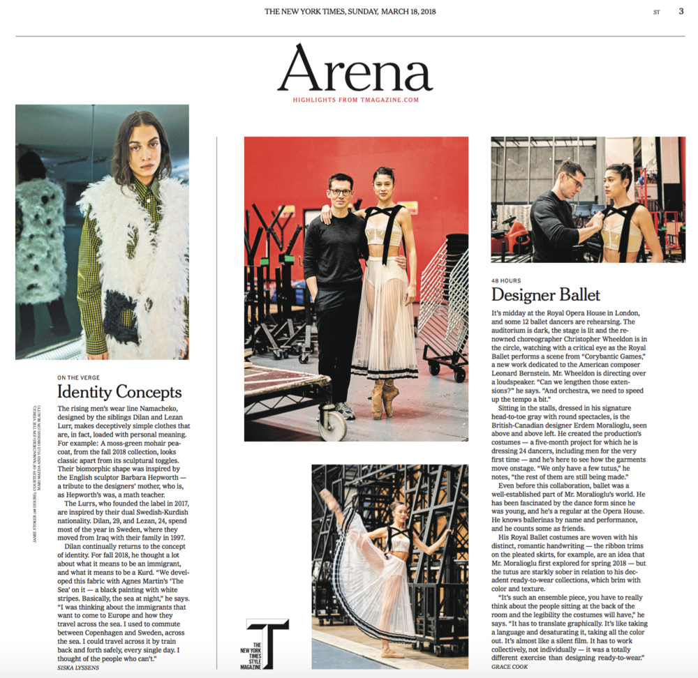 Arena page of NYT Sunday Style