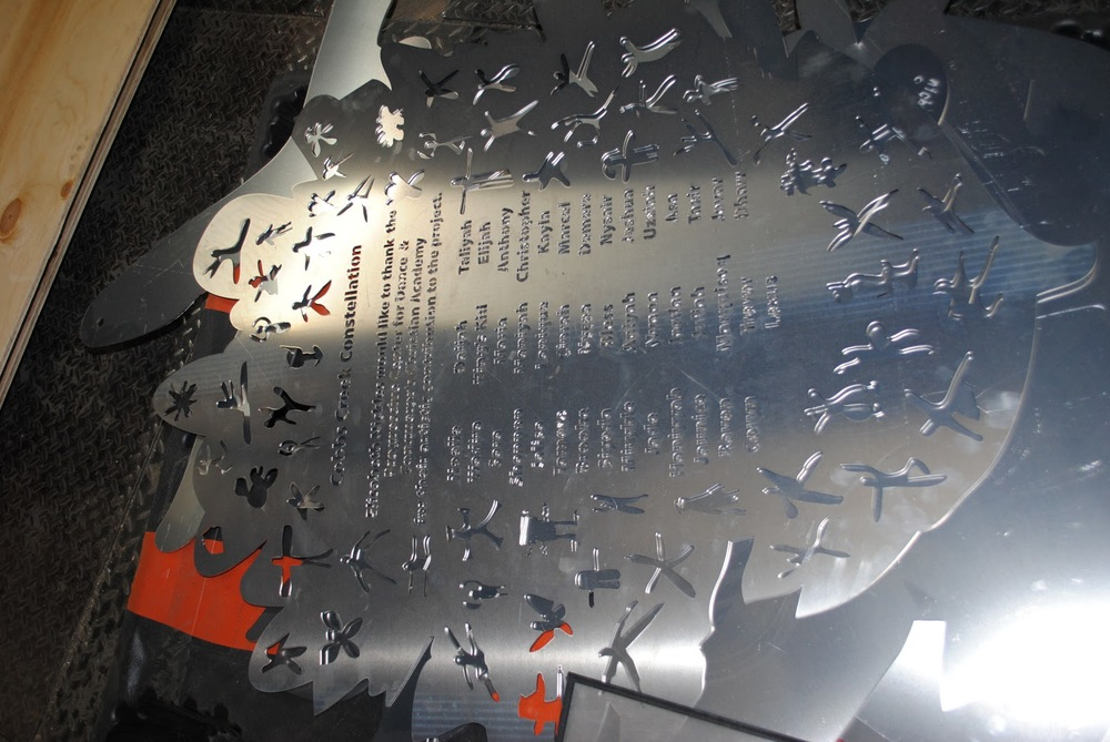 The placard with the children's names