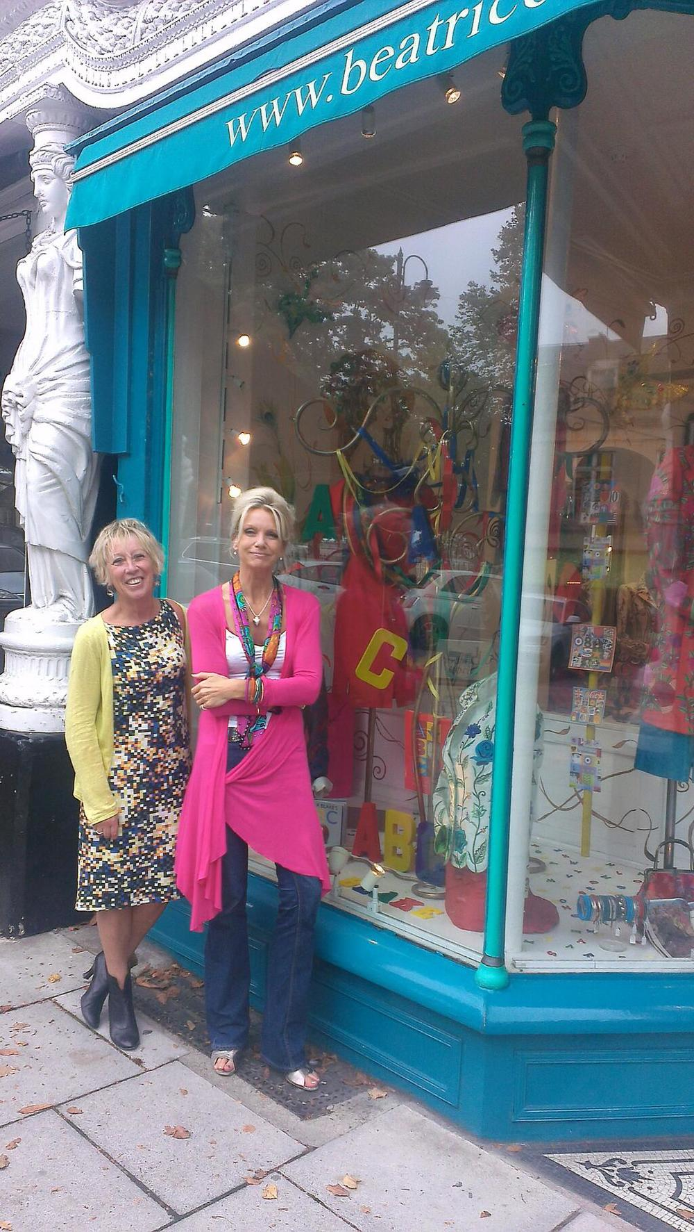 Nicola of Beatrice von Treskow with Carol Klein standing in front of the Winning Window Display.