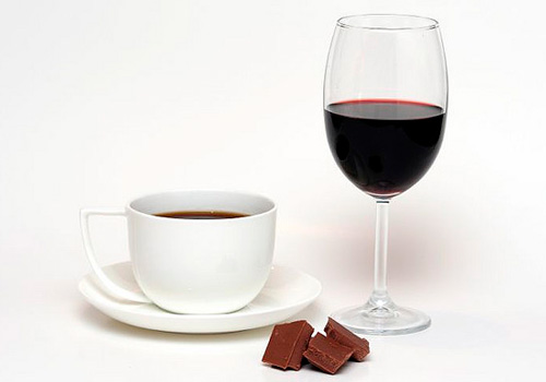 Wine, chocolate and coffee