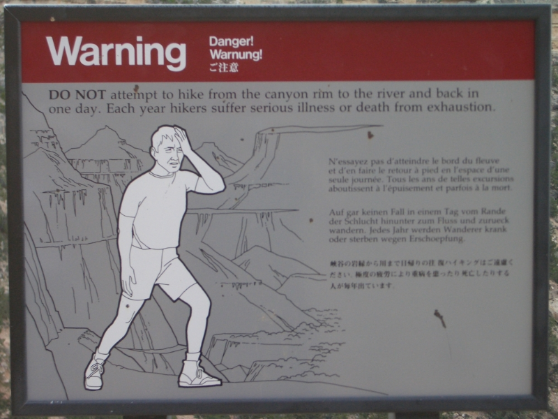 Grand Canyon Warning Sign