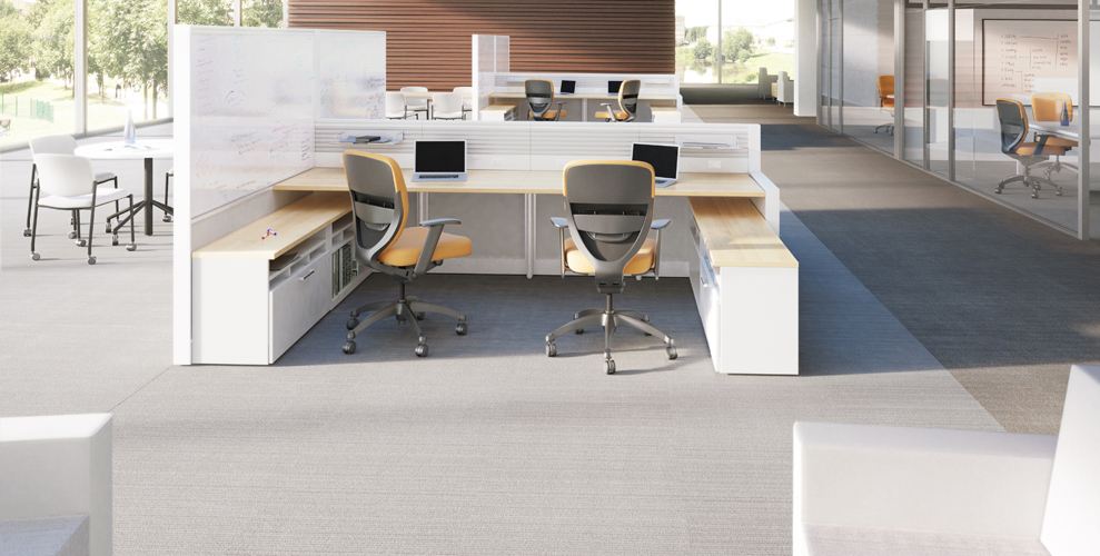 Xsite panels with footprint worksurfaces, storage and Wish seating.