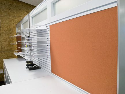 Xsite panel system with Perks work tools and Footprint worksurfaces and storage