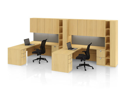 Definition shared office with under surface pedestal and Itsa seating