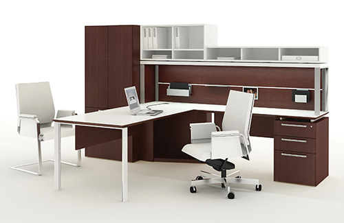 Private office with Fluent desks and storage, Interstuhl Axos midback desk seating, Interstuhl Axos guest seating