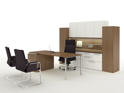 Private office with Fluent desks and storage, Interstuhl Axos highback desk seating, Interstuhl Axos guest seating