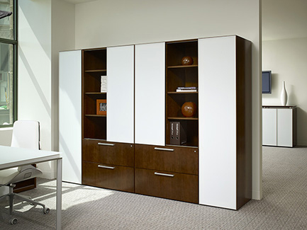 Fluent wall unit with Ice glass doors, storage wardrobe, and lateral files