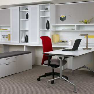 Workstation with Fluent storage, Footprint worksurfaces, Scenario table, Traxx and Tile wall system, and Campos seating