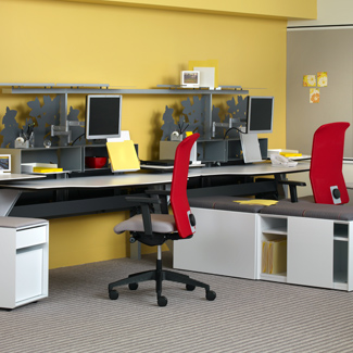 Team work area with Hum. Minds at Work desk and storage, Fluent storage, and Campos seating