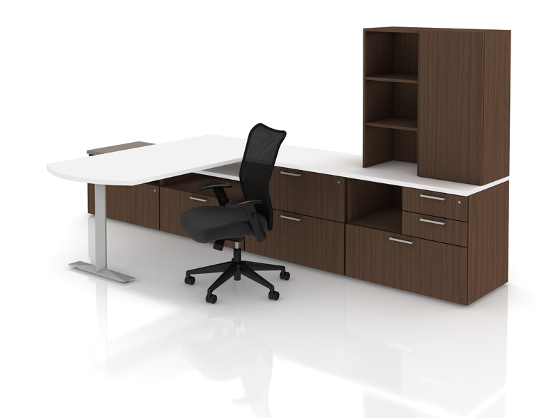 Priority worksurface and storage with Itsa seating