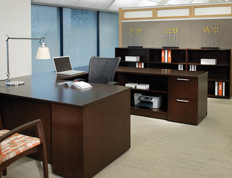 Priority desk and storage with Acapella guest seating and Skye executive seating