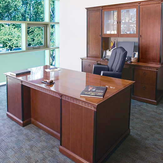 Private office with Innsbruck desk and storage and Muirfield seating