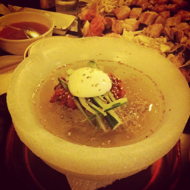 Ice Bowl Kimchi Naeng Myun #koreanfood #noodles #icebowl (Taken with  Instagram  at Tong Sam Gyup Goo Yi Restaurant)