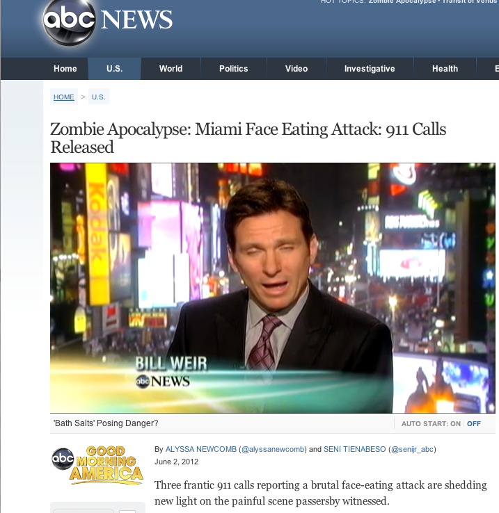 ABC News spreading the zombie apocalypse meme is like letting Uncle Touchy watch the kids- irresponsible. Further evidence that the news has gone full-retard.