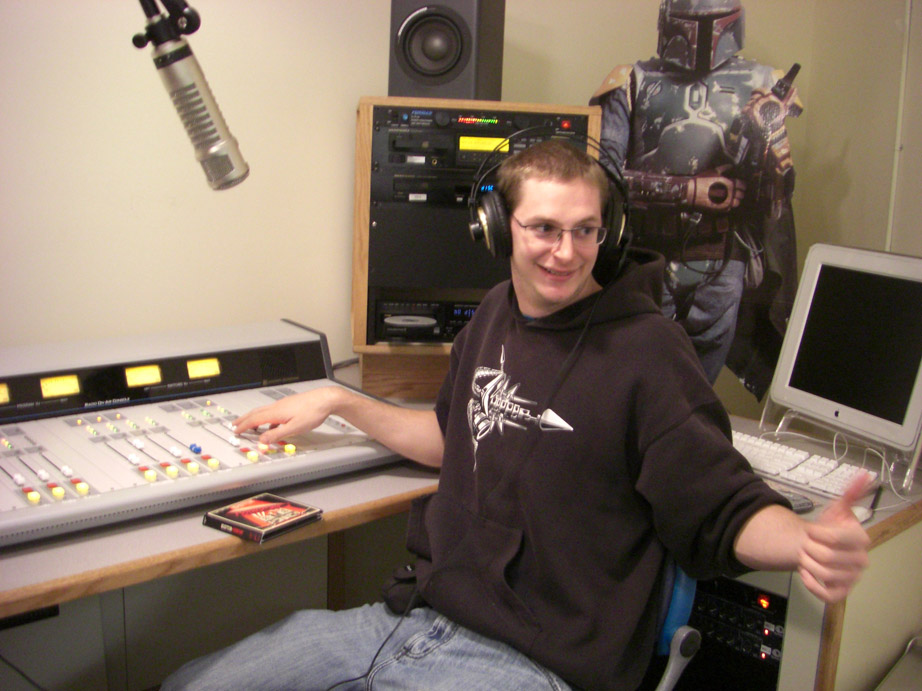 Gauthier Giacomoni testing out the new WQMC studio in October 2008.