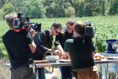 Filming Chef Gabriele Corcos at Madrigal Family Winery in Calistoga