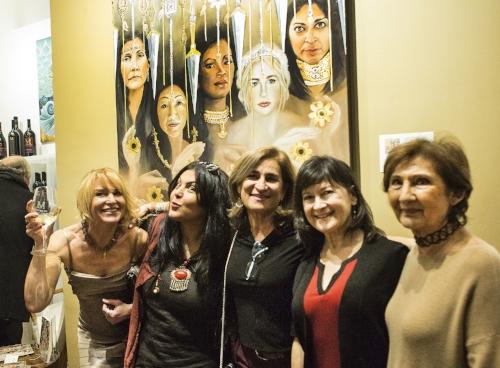 (L-R): Teri Vereb (artist), Farnaz Zabetian (artist), Shiva Pakdel (curator), Patricia Gatti (Sausalito Tasting Salon Manager), and Simin Massoudi (artist)
