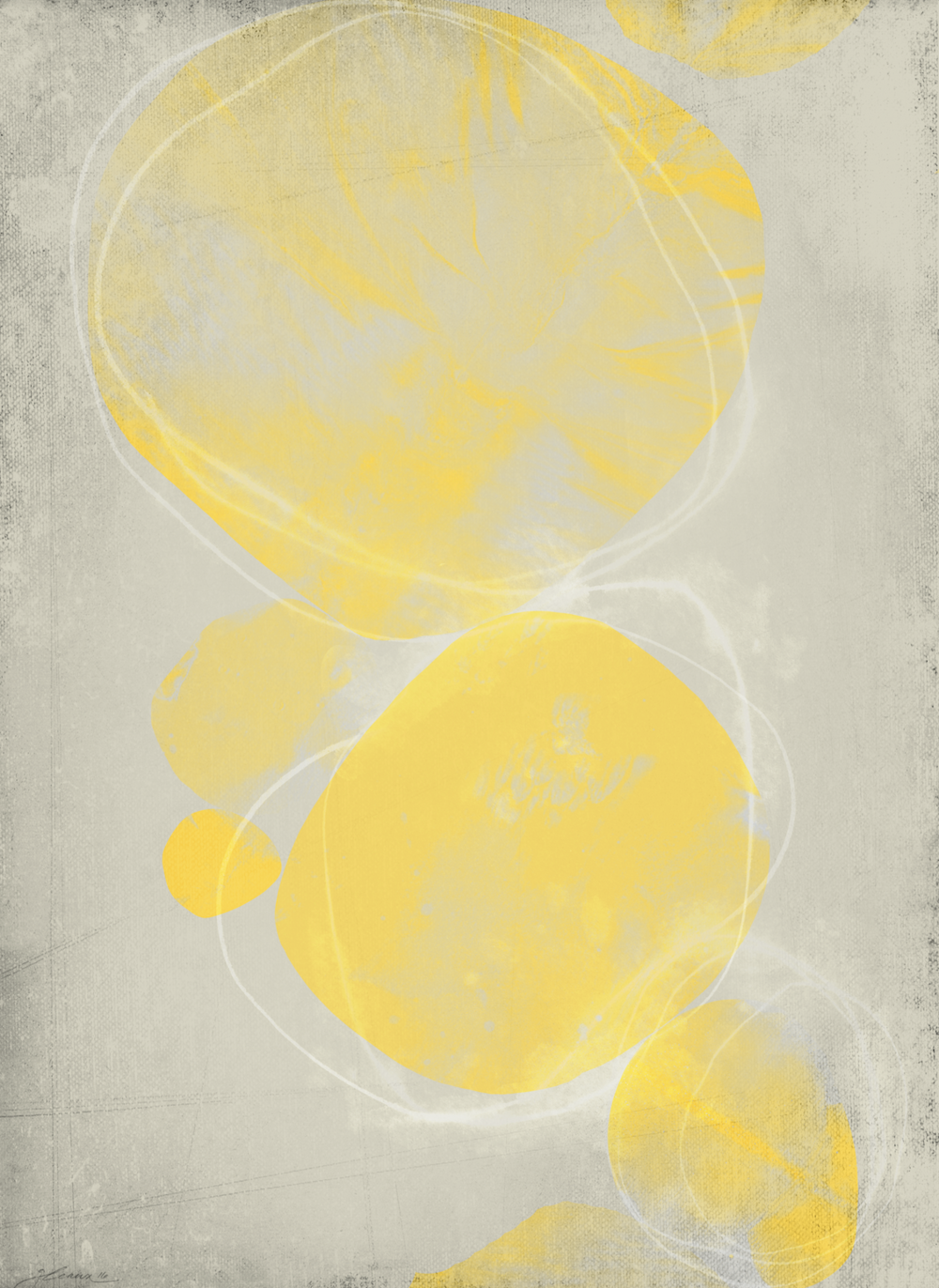 BIG YELLOW 01 : acrylic, aqua-pencil, chalk • • • SHOP ART • • •