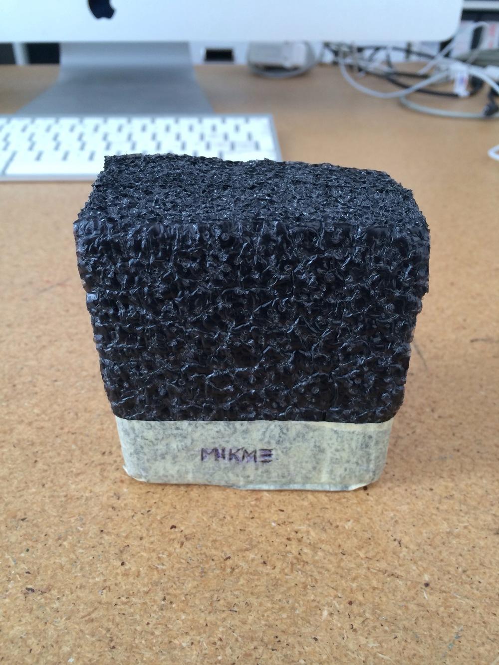 Mikme microphone - early foam prototype - with Philipp's Apple iMac