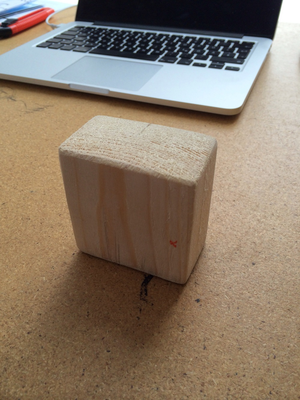Mikme microphone - early wooden prototype - with Philipp's Apple macbook Pro