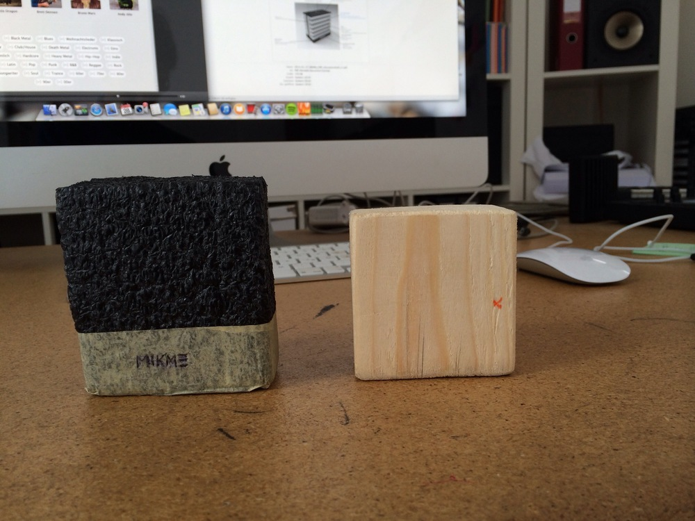 Mikme microphone - early foam and wooden prototype - with Philipp's Apple macbook Pro