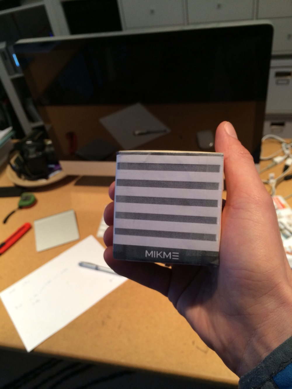Mikme microphone - early wooden prototype