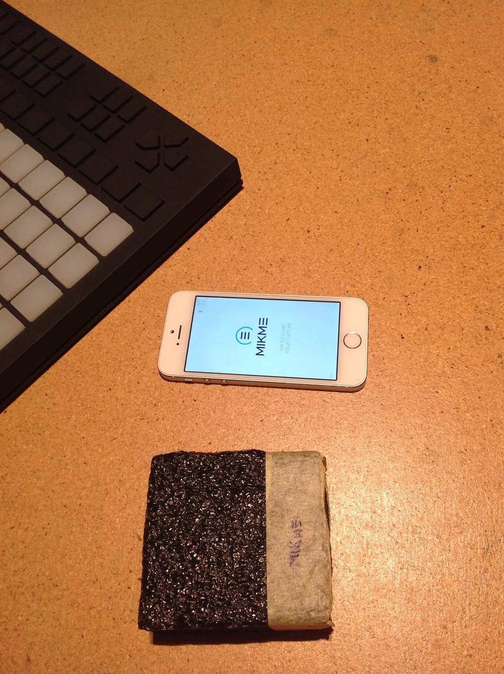 Mikme microphone - early wooden prototype - with Philipp's iPhone 5s and Ableton Push controller