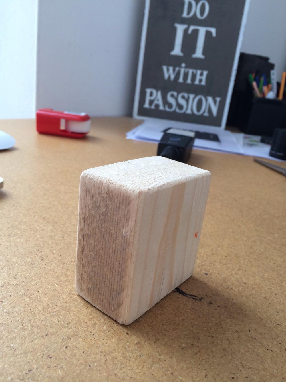 Wooden prototype of MIKME microphone