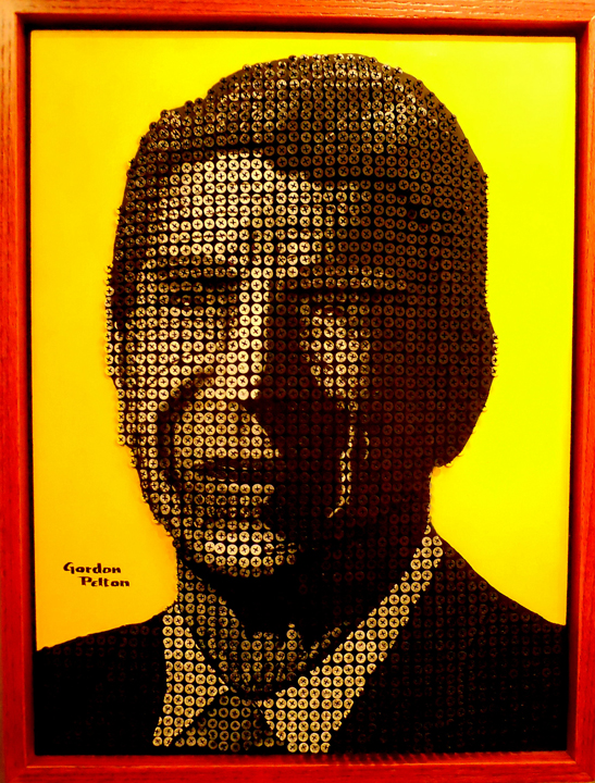 """Pres. Ronald Reagan"" in Bas Relief 20"" x 26"" Framed     Screws in Plywood Panel $4100 PLACE ORDER"