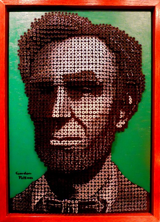 """Pres. Abraham Lincoln"" in Bas Relief 18"" x 25"" Framed     Screws in Plywood Panel $4100 PLACE ORDER"