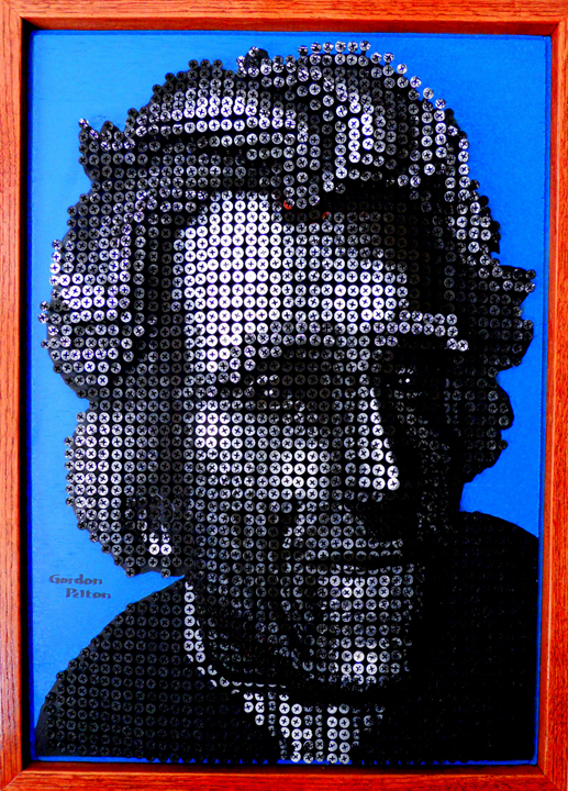 """Pres. Andrew Jackson"" in Bas Relief 18"" x 24"" Framed     Screws in Plywood Panel (Not for Sale)"