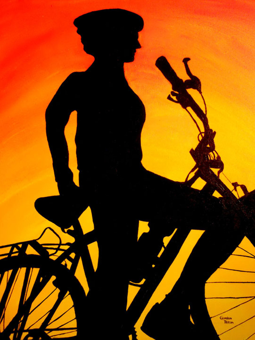 "Biker on Orange Sky   16"" x 24"" Gallery-Wrap Acrylic $1050  Giclee Copies Available     PLACE ORDER"