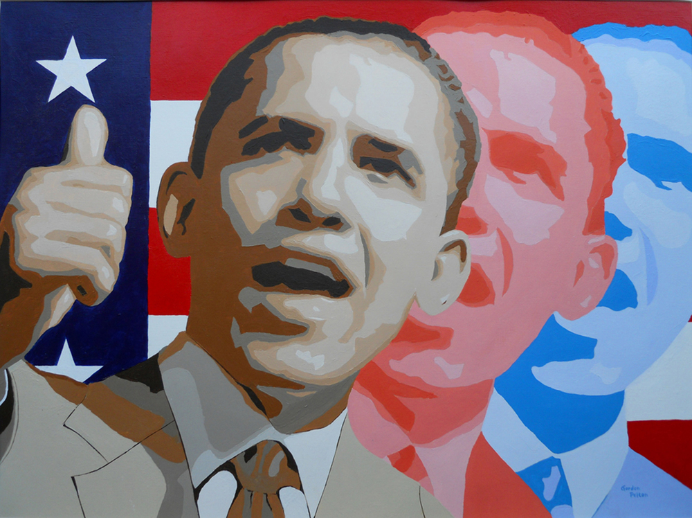 "Barack Obama 24"" x 18"" Unframed Acrylic on Heavyweight Linen Paper $1295 Giclee Copies Available PLACE ORDER"