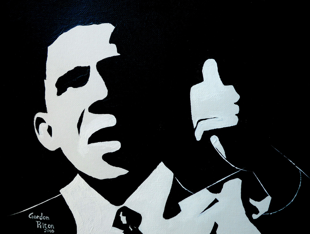 "Barack Obama 2 12"" x 9""  Unframed-Canvas Acrylic $395 Giclee Copies Available PLACE ORDER"