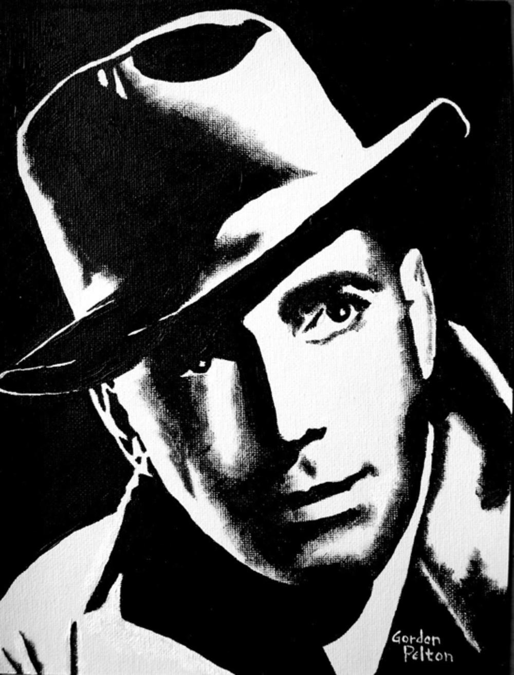 "Humphrey Bogart 1   9"" x 12"" Unframed-Canvas Acrylic $450  Giclee Copies Available     PLACE ORDER"