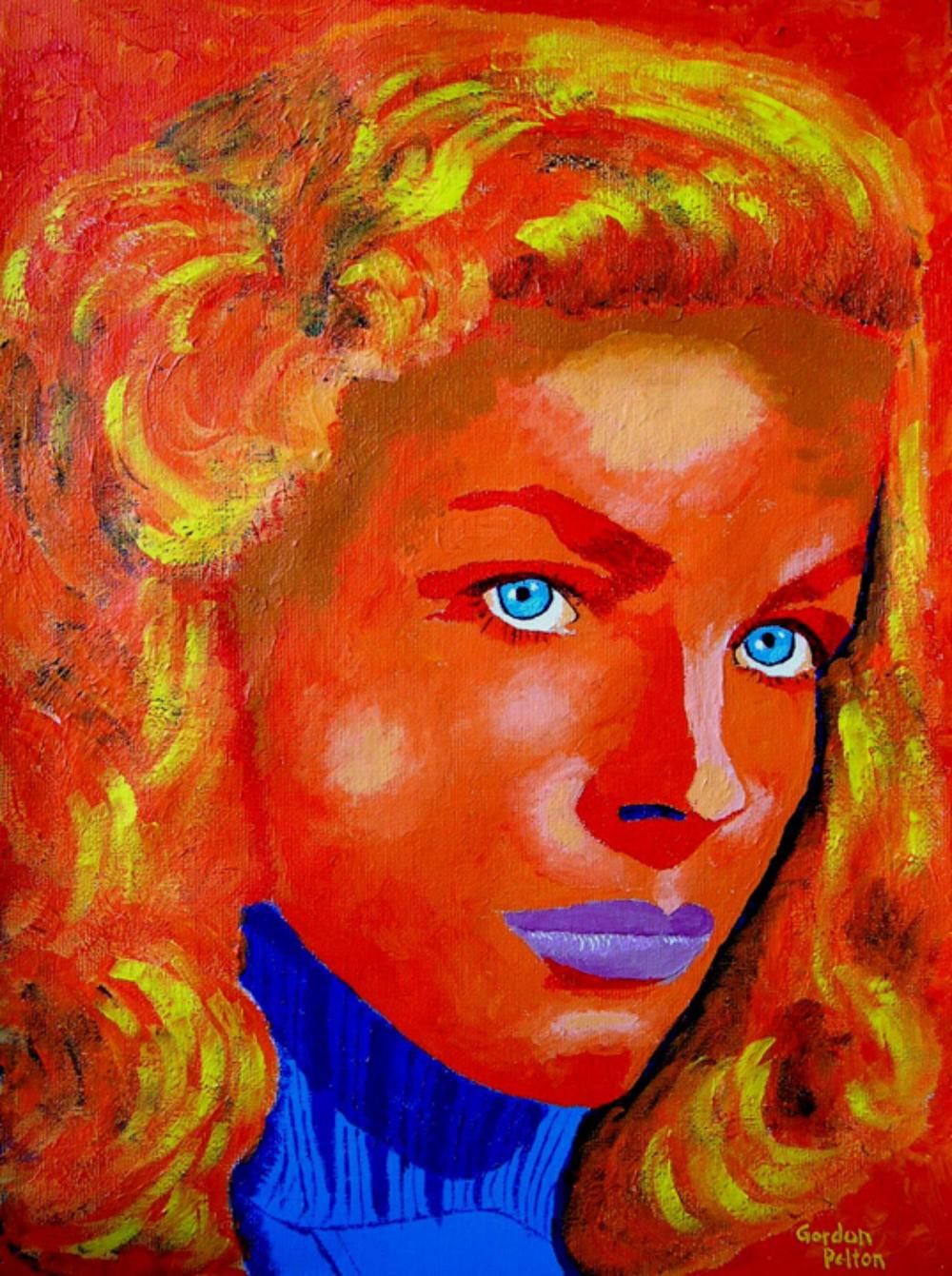 "Lauren Bacall 12"" x 16"" Unframed-Canvas Acrylic $750 Giclee Copies Available PLACE ORDER"