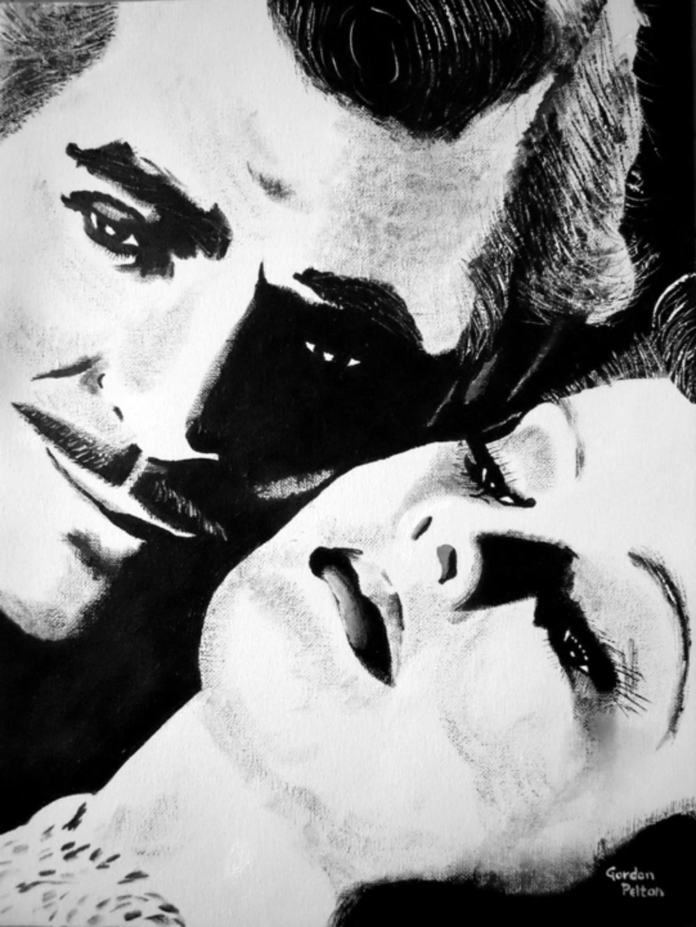 "Clark Gable and Vivien Leigh 12"" x 16"" Unframed-Canvas Acrylic $750 Giclee Copies Available PLACE ORDER"