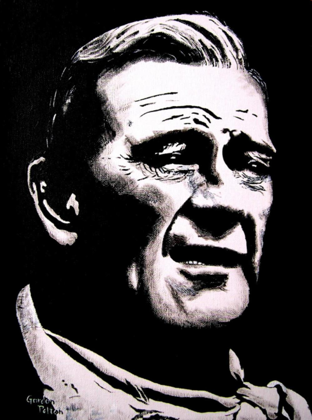 "John Wayne 12"" x 16"" Unframed-Canvas Acrylic $750 Giclee Copies Available PLACE ORDER"