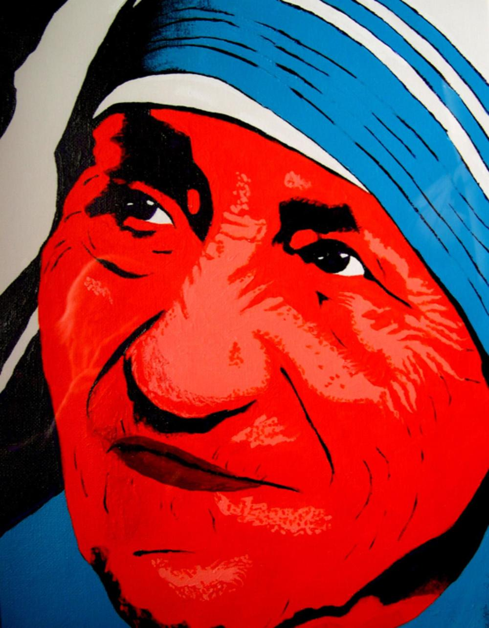 "Mother Teresa 12"" x 16"" Unframed-Canvas Acrylic $750 Giclee Copies Available PLACE ORDER"