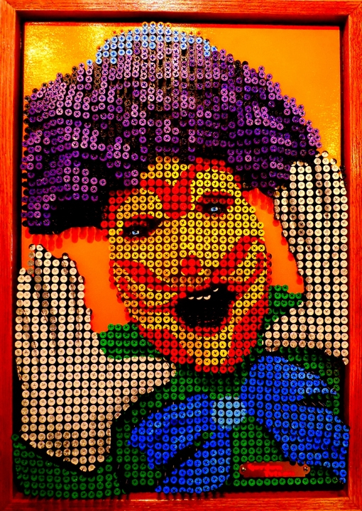 """Clown 1"" in Bas Relief 18"" x 25"" Framed     Screws in Plywood Panel $4100 PLACE ORDER"