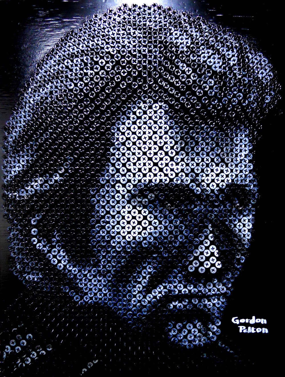 """Dirty Harry (Clint Eastwood)"" in Bas Relief 17 x 22  Screws in Plywood, Framed  $2500 PLACE ORDER"